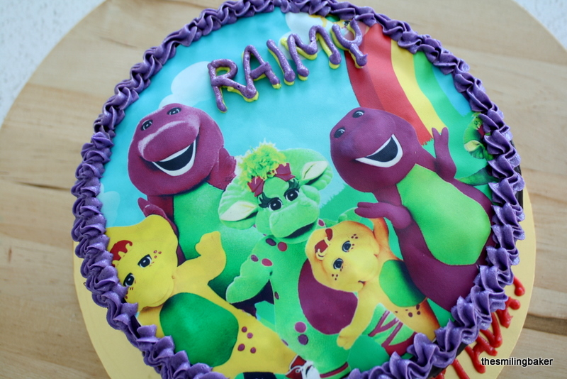 Strange Raimy 1St Birthday Barney Edible Image Personalised Birthday Cards Cominlily Jamesorg